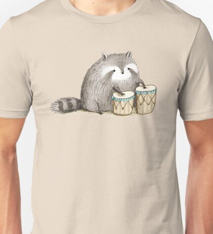 Raccoon on Bongos Unisex T-Shirt