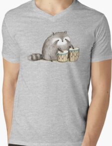 Raccoon on Bongos Mens V-Neck T-Shirt