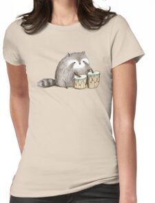 Raccoon on Bongos Womens Fitted T-Shirt