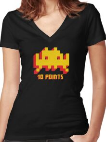 Space Invaders 10 Points Women's Fitted V-Neck T-Shirt