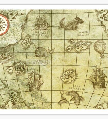 Sea Monsters Map Sticker