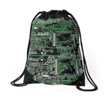 Circuit Board Green Drawstring Bag