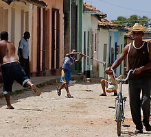 Baseball in the street, Trinidad, Cuba by buttonpresser