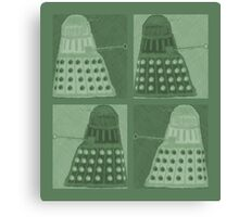 Daleks in negatives - green Canvas Print