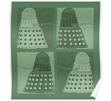 Daleks in negatives - green Poster