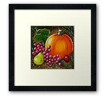 Pumpkin Still life- Wood Carving (Acrylics on wood) Framed Print
