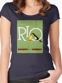 Rio Vintage Travel Poster Restored Women's Fitted Scoop T-Shirt