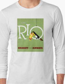 Rio Vintage Travel Poster Restored Long Sleeve T-Shirt