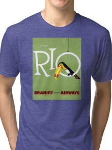 Rio Vintage Travel Poster Restored Tri-blend T-Shirt