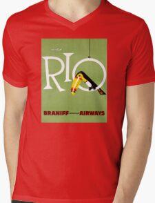 Rio Vintage Travel Poster Restored Mens V-Neck T-Shirt