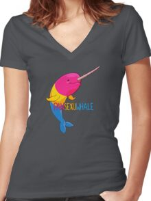 Pansexuwhale - with text Women's Fitted V-Neck T-Shirt
