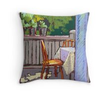 Backyard interior with a chair Throw Pillow