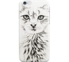 Drawing of Chic White Cat iPhone Case/Skin