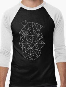 Abstraction Outline Black and white Men's Baseball ¾ T-Shirt