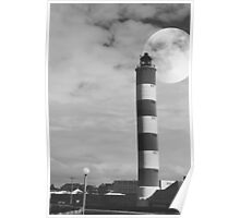 Moon and Lighthouse Poster