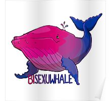 Bisexuwhale - with text Poster