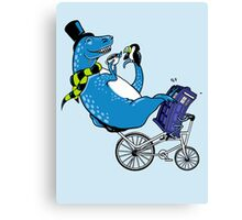 Tandem T-Rex with Toucan and Tea while Tardis Toils Canvas Print