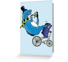 Tandem T-Rex with Toucan and Tea while Tardis Toils Greeting Card