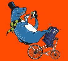 Tandem T-Rex with Toucan and Tea while Tardis Toils Kids Tee