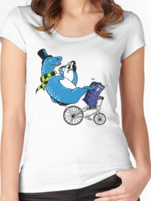 Tandem T-Rex with Toucan and Tea while Tardis Toils Women's Fitted Scoop T-Shirt