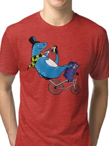 Tandem T-Rex with Toucan and Tea while Tardis Toils Tri-blend T-Shirt