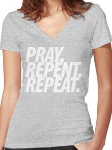 PRAY REPENT REPEAT WHT Women's Fitted V-Neck T-Shirt