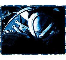Fall Chucks -- Cyanotype Photographic Print