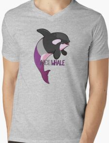 Asexuwhale - with text Mens V-Neck T-Shirt
