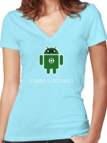Droidarmy: Green Lantern (text) Women's Fitted V-Neck T-Shirt