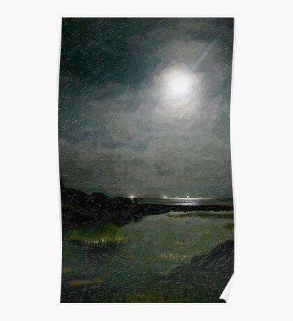 Summer Moon Over the Lagoon_Carpinteria, CA Poster