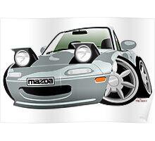 Mazda MX-5 / Miata caricature silver Poster