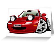 Mazda MX-5 / Miata caricature red Greeting Card