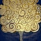 "The Golden Tree -Woodcut Digital Print by Belinda ""BillyLee"" NYE (Printmaker)"