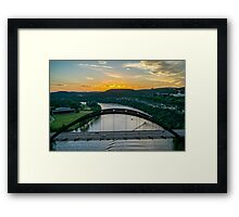 Austin 360 Bridge Sunset from Above Framed Print