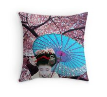 The Geisha and the Cherry blossom Throw Pillow
