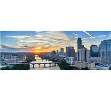 Austin Skyline Sunset Panorama Photographic Print
