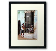 Couple chatting, Trinidad, Cuba Framed Print