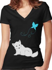 White Puppy and the Butterfly Women's Fitted V-Neck T-Shirt