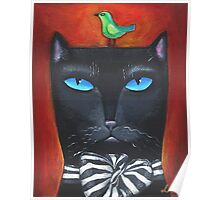 """Bow Cat"" - Original Folk Art Painting  Poster"
