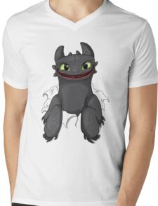 Curious Toothless Mens V-Neck T-Shirt