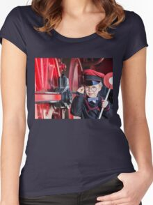 Smiling Train Conductor Boy Women's Fitted Scoop T-Shirt