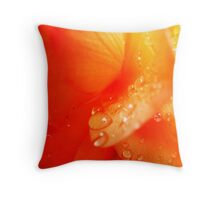 Droplets on Flower Petals Throw Pillow