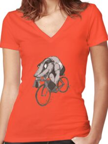 Bikin' Badger Women's Fitted V-Neck T-Shirt