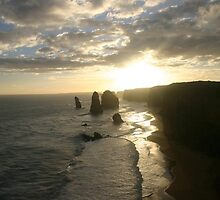 """Sunsetting over the """"Twelve Apostles"""" by Chris Chalk"""