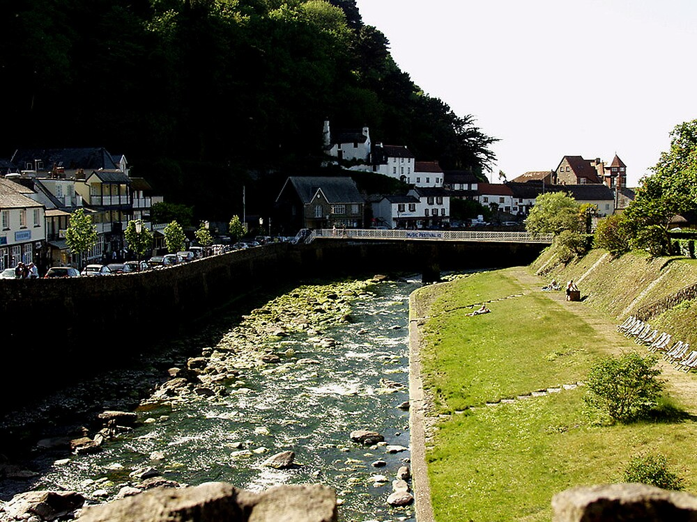 East & West Lyn Rivers Converge in Lynmouth by Andrew  Bailey