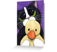 Scared Tuxedo Cat with Toy Duck Greeting Card