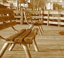 Warped Benches on the Pier (shadows in sepia) by dreamNwish