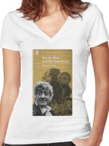 Doctor Who and the Sea-Devils - Penguin style Women's Fitted V-Neck T-Shirt