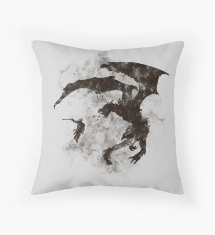 Dragonfight-cooltexture B&W Throw Pillow
