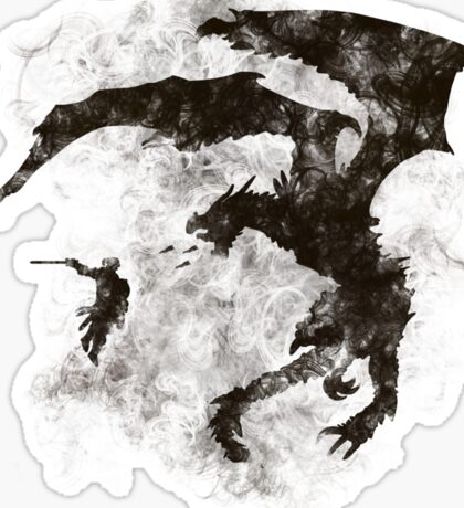 Dragonfight-cooltexture B&W Sticker